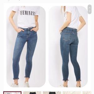 Topshop Moto Jamie Frayed Hem High Rise Jeans  28